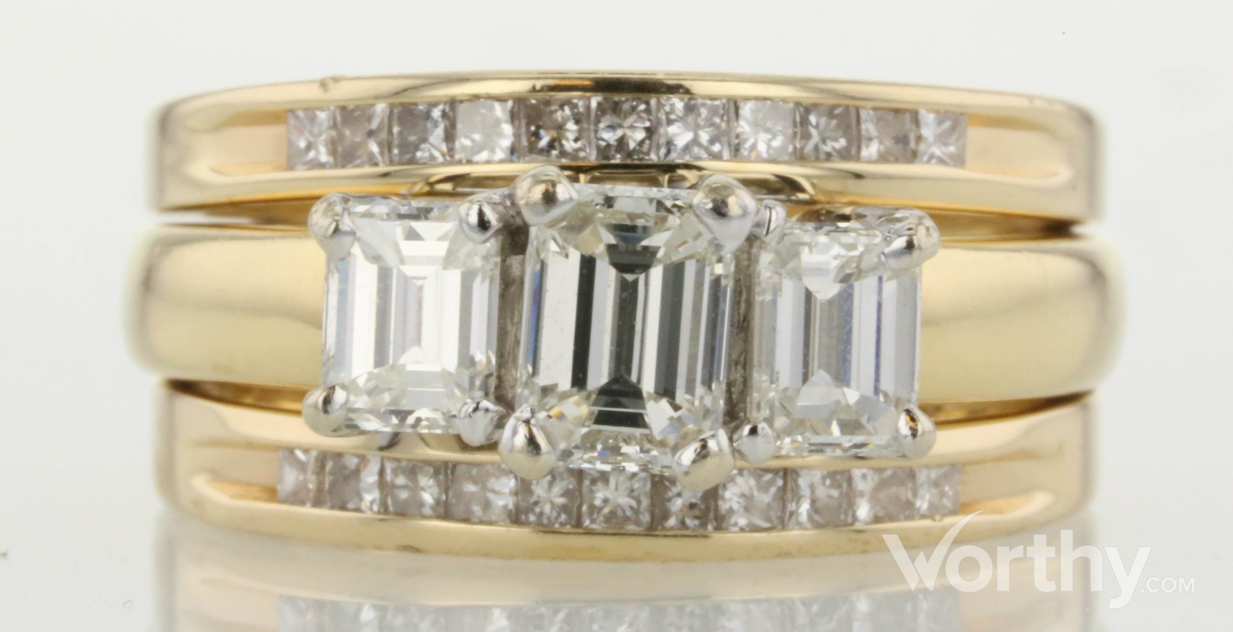 a99a2e0736f 0.76 CT Emerald Cut Bridal Set Ring Sold at Auction for $1400