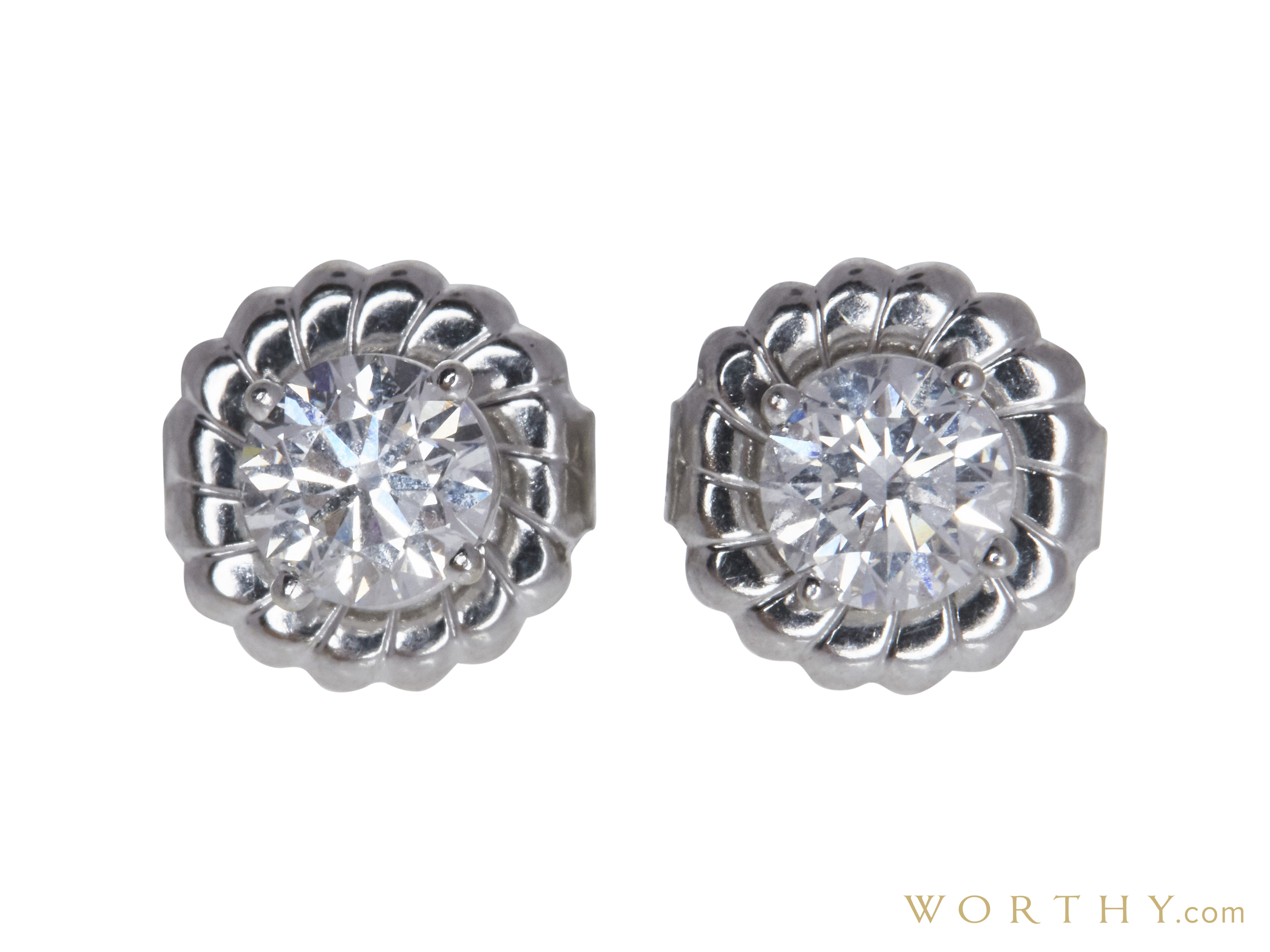 7d6977d14 GIA 0.62 CT Round Cut Stud Earrings, G, SI2 Sold at Auction for $1531