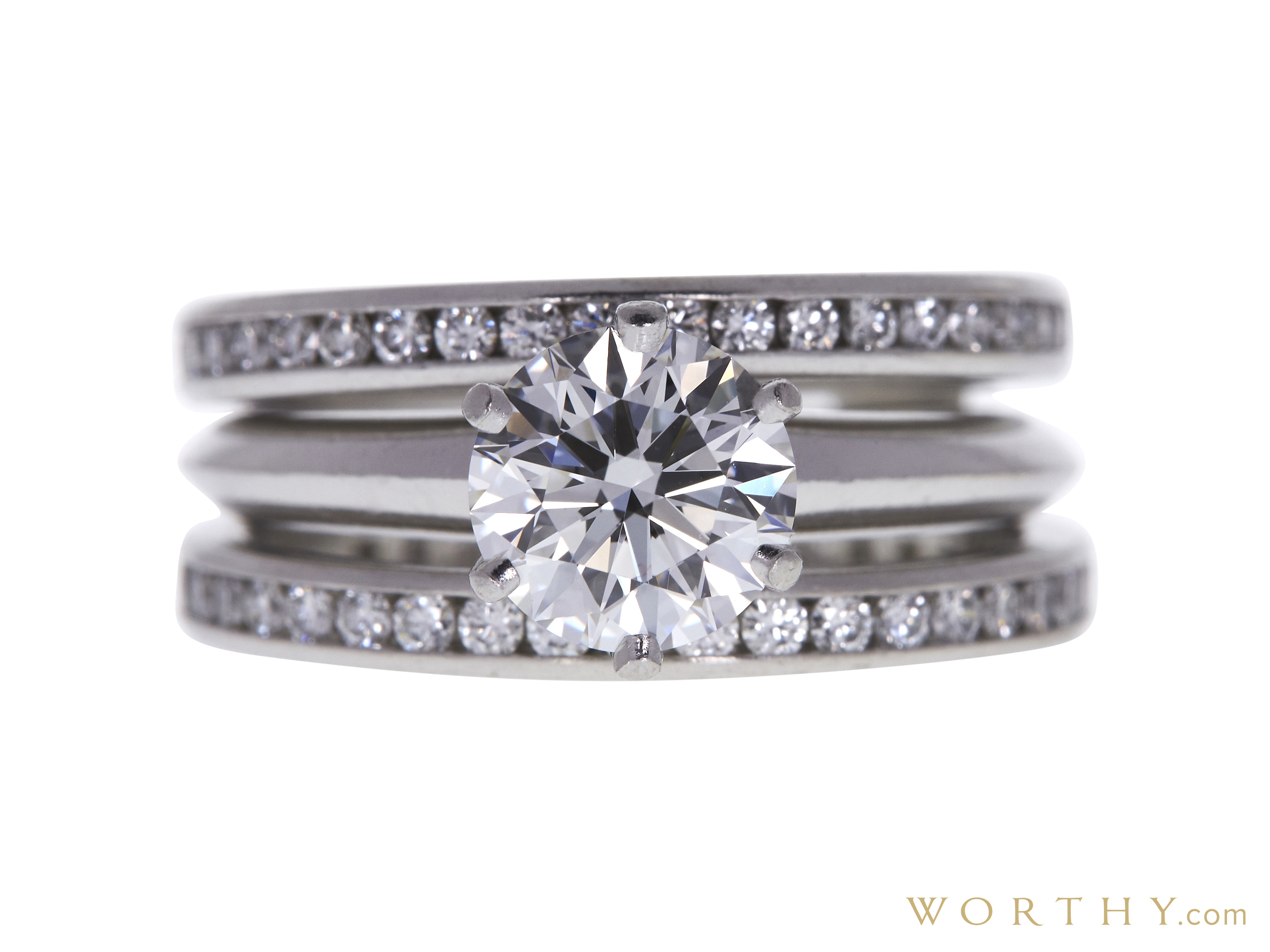 a26e487a6 GIA 1.29 CT Round Cut Bridal Set Tiffany & Co. Ring, F, VS1 Sold at ...