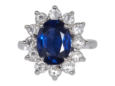 3.05 CT NATURAL BLUE SAPPHIRE & DIAMOND RING