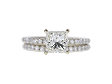 1.5 CT PRINCESS CUT BRIDAL SET RING