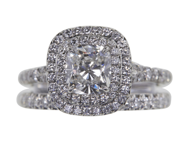 1.0 CT CUSHION CUT DOUBLE HALO DIAMOND ENGAGEMENT RING