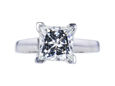 2.12 CT PRINCESS CUT SOLITAIRE RING