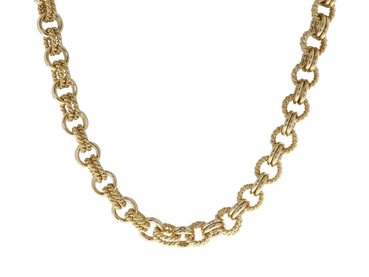 VINTAGE TIFFANY 14K YELLOW GOLD DOUBLE CIRCLE ROPE LINK NECKLACE