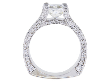 2.01 CT CUSHION MODIFIED CUT BRIDAL SET RING