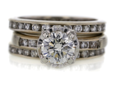 1.03 CT ROUND CUT BRIDAL SET RING
