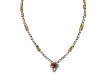 GRAFF 18K YELLOW GOLD NATURAL RUBY AND DIAMOND NECKLACE