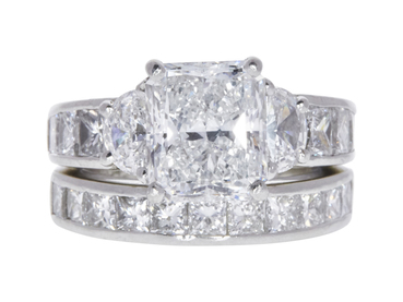 3.3 CT RADIANT CUT BRIDAL SET RING