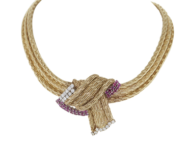 RUBY & DIAMOND THREE STRAND WOVEN 14K YELLOW GOLD NECKLACE