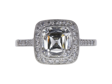 2.1 CT CUSHION MODIFIED BRILLIANT CUT DIAMOND ENGAGEMENT RING